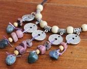 Ethnic semi precious stone and coin necklace