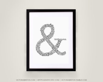 Ampersand (&) - 8x10, 11x17 typography print, and symbol typography, modern art print, inspirational decor, design print, christmas
