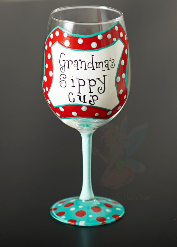items similar to grandma 39 s sippy cup hand painted wine glass on etsy. Black Bedroom Furniture Sets. Home Design Ideas