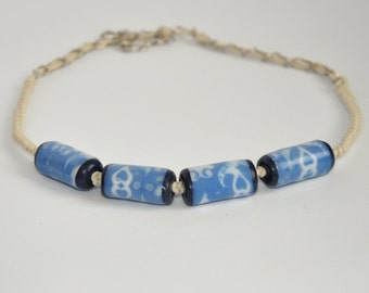 White & Blue Faux Porcelain Polymer Clay Necklace