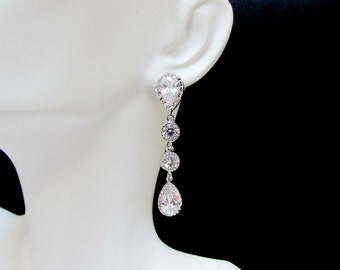 long bridal teardrop earrings , long cz earrings , cubic zirconia earrings , rhinestone earrings , bridal drop earrings , stone drop earring