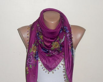 rose color scarf  purple  flower yellow green   cotton turkish yemeni oya handmade