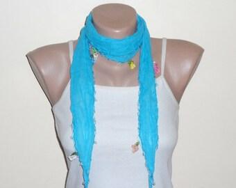 blue scarf   flower  yellow pink white cotton turkish yemeni oya handmade