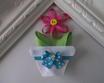 Flower Pot ribbon sculpture hair clip. Flower Pot Hair Bow.