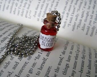 Dragon's Blood 1ml Glass Bottle Necklace Charm - Cork Vial Pendant - Dragons Goth Halloween
