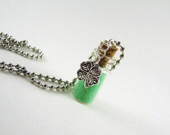 Bottle of Luck 1ml Glass Bottle Necklace Charm - Bottle O' Luck Cork Bottle Pendant - Luck Lucky