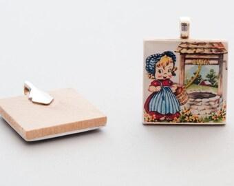 Wood Tile Pendant - Girl at a Wishing Well