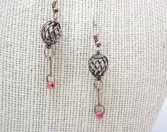 Birdcage earrings, copper, coral beads