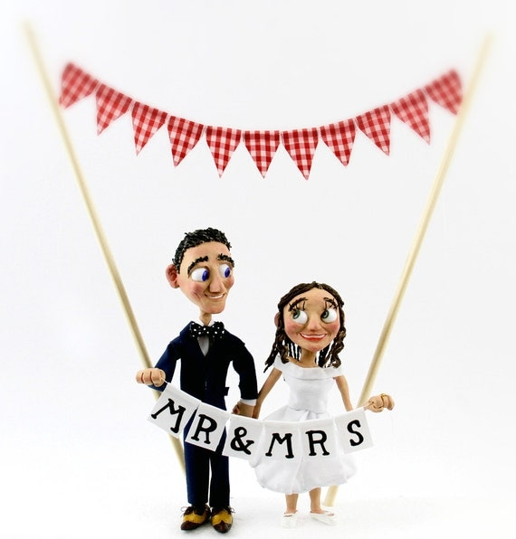 Bespoke Wedding Bride and Groom Cake Topper Figures