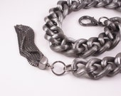 The Jess Chain - Large Gun Metal Textured Chain Tassel Bracelet