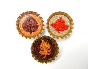 Bottle Cap Magnets - Autumn Leaves - Set of 3 Glitter Resin Filled