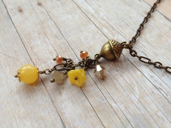 Acorn Necklace, Yellow Peach Champagne Beads Crystals