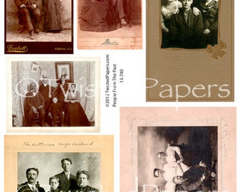 VINTAGE PHOTOS and Cabinet Cards of Men and Women in Groups from the 1880s-early 1900s, Digital Collage Sheet, 13-740