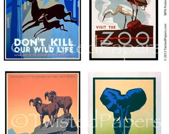 1930s Art Deco WPA Poster Art, Vintage Digital Collage Sheet for Zoos, Wildlife, National Parks, 13-582