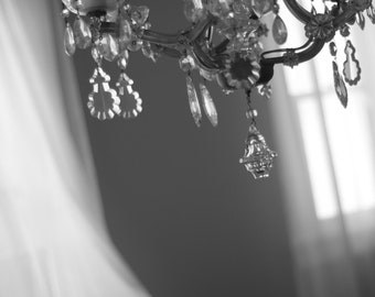 Chic Dreamy Afternoon and Whimsical Chandelier // Black and White Fine Art Photography // Photo Print
