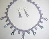 Necklace and Earring Set Handcrafted with Blue Violet Mystic Quartz Fancy Twisted Briolettes