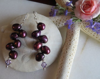 Pearl earrings, Swarovski earrings, Sterling silver earrings, Purple pearl earrings, June birthstone earrings, 30th anniversary earrings