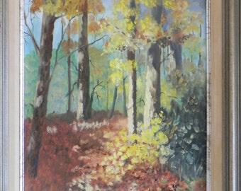 Original Oil Painting, Framed, Forest Scene