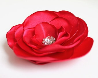 Red Flower Bridal Hair Accessory - Red Flower Hair Clip - Wedding Flower Hair Piece - Red Flower