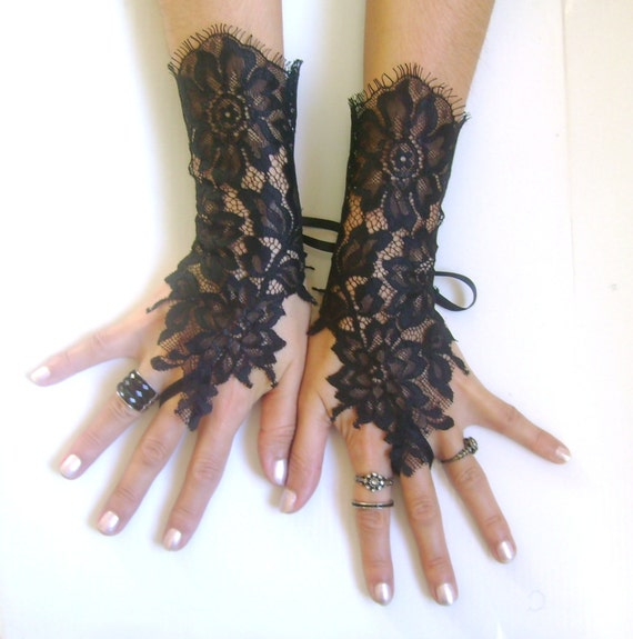 black lace gloves french lace bridal wedding fingerless