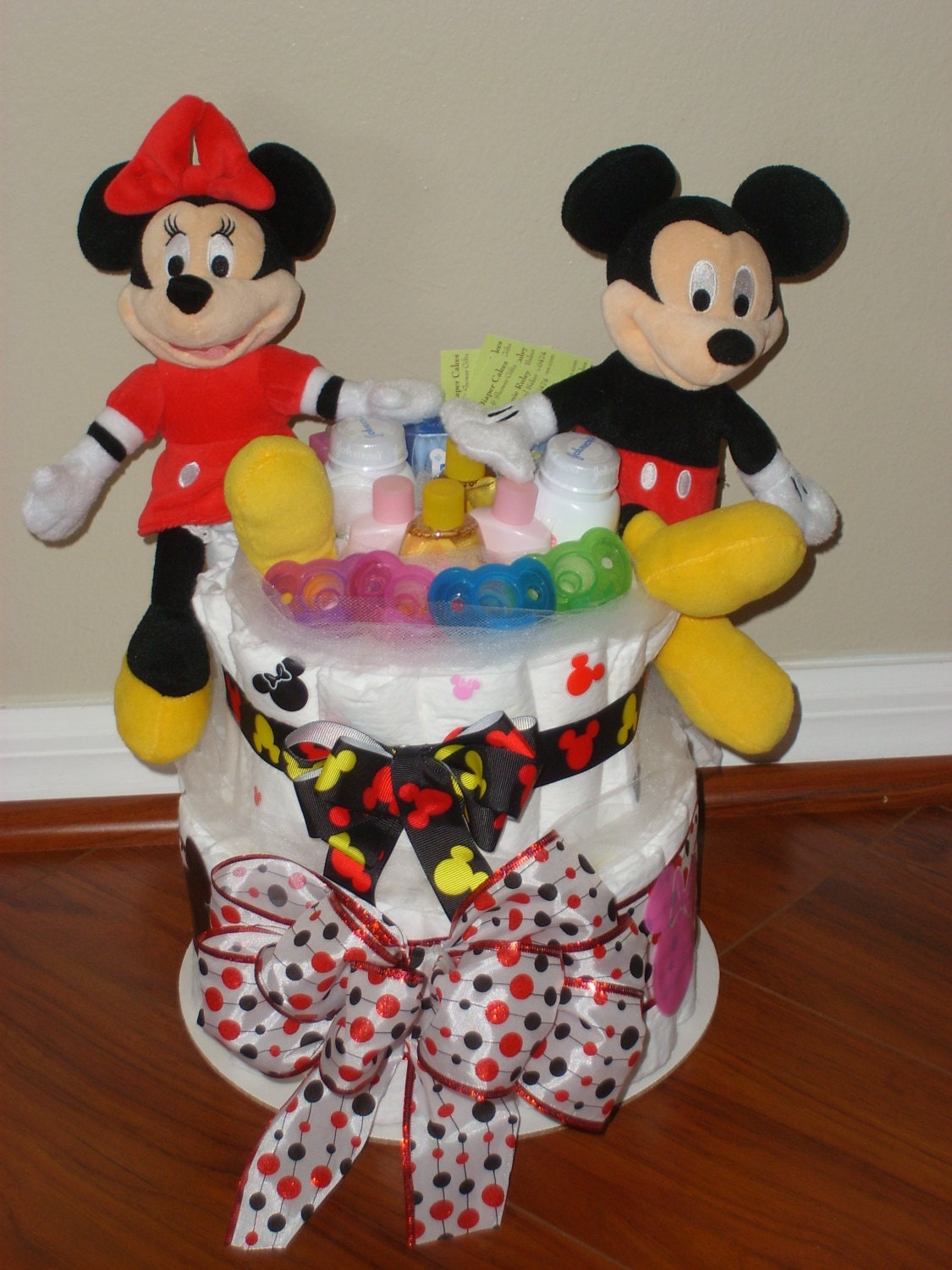 Items Similar To Mickey And Minnie Mouse Twins Diaper Cake