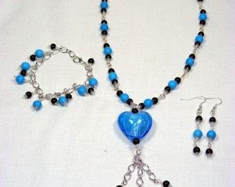 Glass and Semi Precious Jewellery set