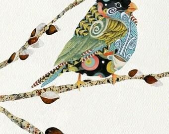 Art Print. Cafe Swirly Bird. Vanilla Sky