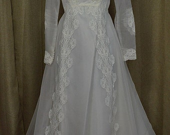 Vintage White 70's Chiffon & Lace Wedding Gown with Train, Long Sleeve, Size 8, Bridal Originals, Made in USA