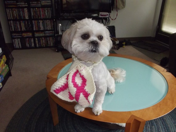 Handmade Crochet Pink Awareness Ribbon Dog/Cat Scarf - Breast Cancer Charity - S