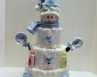 Babies First Snowman Diaper Cake