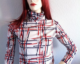 Vintage 60's Long Sleeve Shirt  Stripes and Lines