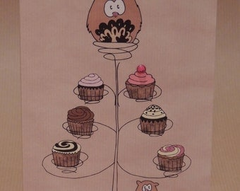 Owl birthday card / greetings card cake stand design