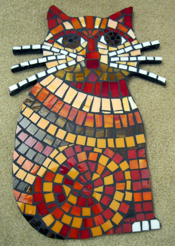 Large Sassy Red Whiskered Cat Mosaic Tile Stained Glass Wall