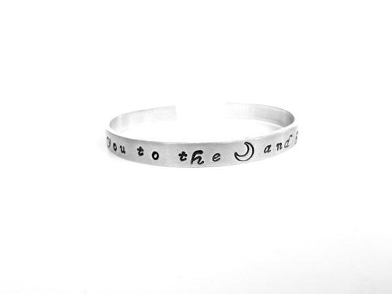 Daughter Mother Sister Gift | I Love You to The Moon and Back | Custom Stamped Bracelet, byTimeless Maiden