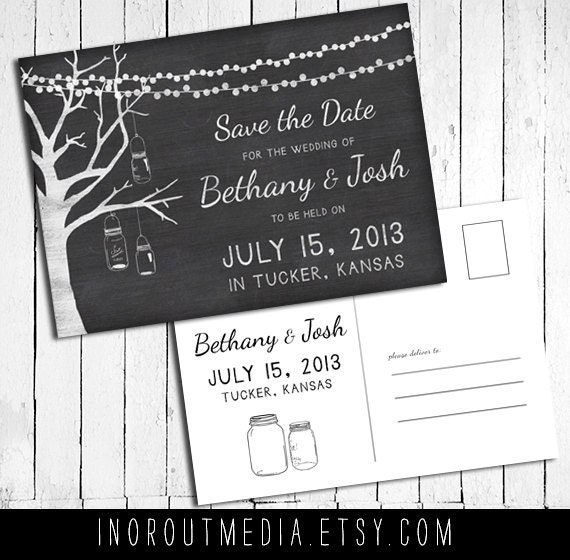 Chalkboard Save the Date, Rustic Save the Date  - The Bethany -  chalk save the date, mason jar, lights, tree, save the date postcards