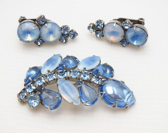 Vintage Blue Moonglow Rhinestone Demi Parure - D&E Juliana Style