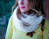 Natural white crocheted infinity scarf - off white infinity scarf