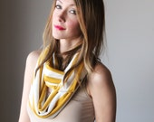 Mustard and ivory stripe infinity scarf