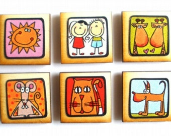 A variety pack of 10 cute magnets