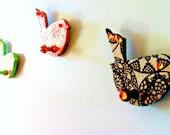 Set of 3 Shabby Chic bird wooden hangers, coat hanger, key hanger, orginization