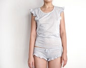 Heathered Grey Top. Ruffled Sleeves. Feminine T Shirt. Casual and Comfy.