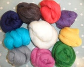 100g Merino Wool Tops, 10 colours for Wet Felting, Needle Felting, Spinning and other Crafts