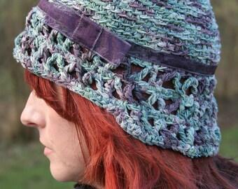 1920's Style, Cloche Hat. Woman's Crochet Hat. Crochet Hat With Purple Ribbon. Original Designed Formal Cloche, OOAK Hat. Special Occasion