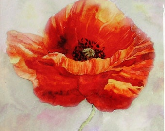 Red Poppy Painting Red Poppies Hand Painted Ceramic Tile Wall Art Poppy Watercolor Flowers Red home decor Floral aquarelle Red Poppy Art