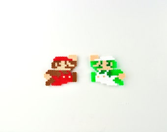 Super Mario Brothers Mario and Luigi Perler Bead Magnet Set Nintendo 8-bit