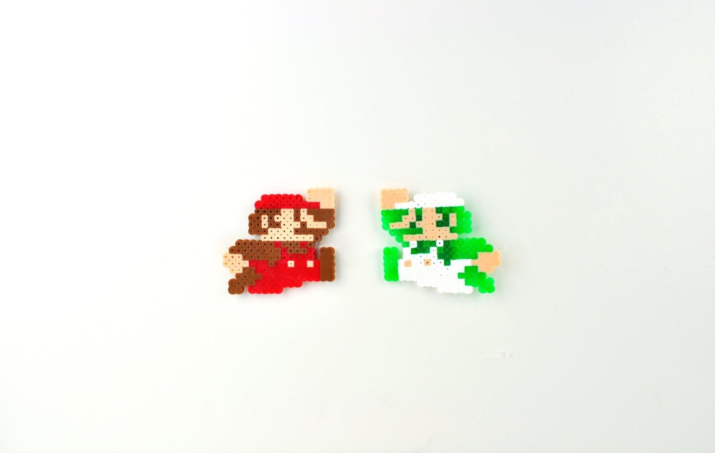 Super Mario Brothers Mario and Luigi Perler Bead Magnet Set