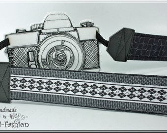 DSLR Camera strap, black & white, argyle