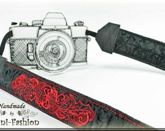 DSLR Camera strap, padded, black gothic