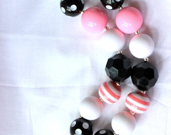 girls chunky bubblegum bead necklace pink black minnie mouse necklace girls necklace chunky necklace summer bubble gum necklace birthday