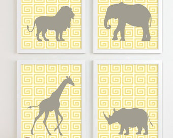 Baby Nursery Art, Safari Animal Nursery Print, Jungle Zoo Children Kids Wall Art Elephant Kids Room Playroom Baby Nursery Decor